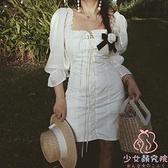連身裙宮廷風連衣裙法式復古重工素色抽繩度假裙【少女顏究院】