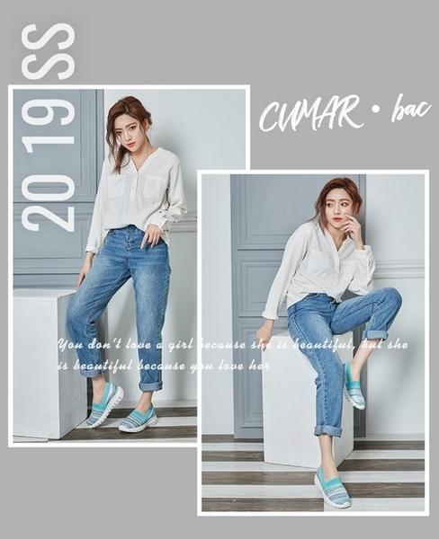 【CUMAR】悠遊輕井澤-混呢金蔥布異材拼接休閒鞋(綠色)