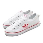 adidas 休閒鞋 Nizza Trefoil W 白 紅 女鞋 三葉草 帆布鞋 運動鞋 【ACS】 FX9267