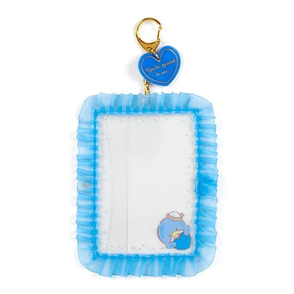 小禮堂 山姆企鵝 蕾絲邊框相框鑰匙圈 透明相框 相框吊飾 相片架 (藍 演唱會粉絲收納) 4550337-45262