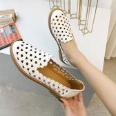 2019春夏季新款韓版豆豆鞋女透氣鏤空涼鞋淺口尖頭平底單鞋懶人鞋 金曼麗莎