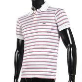 LONGCHAMP 經典純棉雙條紋短袖POLO衫(白/紅)179240-3