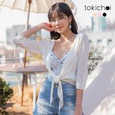 東京著衣-tokichoi-唯美透膚前綁結造型罩衫-S.M.L(190240)