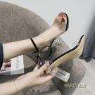 小清新高跟鞋少女2019新款女夏季透明百搭chic學生粗跟個性女鞋子