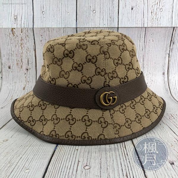BRAND楓月 GUCCI 古馳 GG老花漁夫帽 GG紋 拚皮 帆布 帽子 配飾 配件 經典造型 遮陽 防曬 服裝 服飾