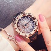 新款時尚防水滿鉆女錶正韓皮帶女生手錶時來運轉時裝錶石英錶