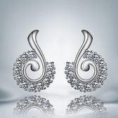 925純銀耳環 鑲鑽(耳針式)-音符知性生日情人節禮物女飾品73au102[巴黎精品]