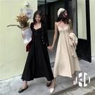 針織開衫套裝女吊帶百褶連身裙時尚兩件套【Kacey Devlin】