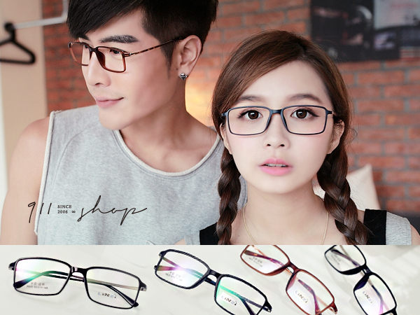 Glint.時尚極細TR90塑膠鈦X記憶金屬方框光學配鏡框眼鏡【p651】*911 SHOP*