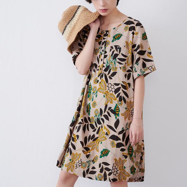 【慢。生活】文藝復古印花連衣裙 9726 FREE 黃色