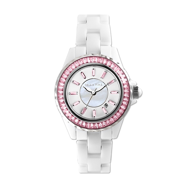 【Relax Time】奢華軌道鑲石經典陶瓷時尚腕錶-晶鑽粉/RT-93-2/台灣總代理公司貨享一年保固