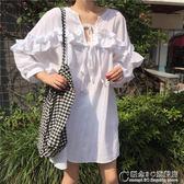 韓版超仙甜美荷葉邊繫帶寬鬆顯瘦燈籠袖娃娃衫中長款襯衫裙學生夏 概念3C旗艦店