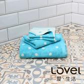 Lovel 專利咖啡紗除臭抗UV圓點3件組(浴巾/毛巾/方巾)-藍