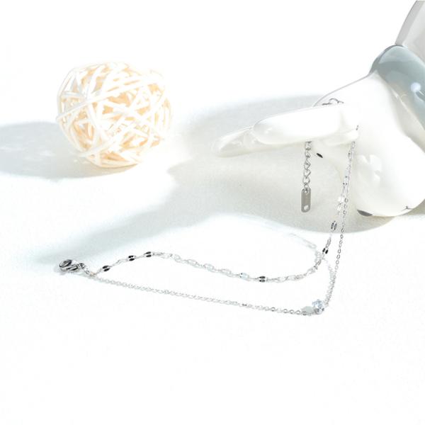 Z.MO鈦鋼屋 白鋼手鏈 簡約氣質款 小巧雙層單鑽手鍊 小清新手鍊推薦 單條價【CKS1031】