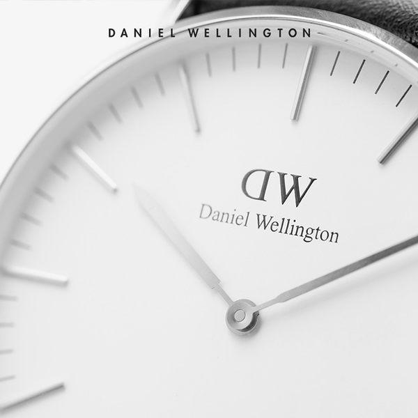 Daniel Wellington DW 手錶 36mm銀框 Classic 玫瑰紅織紋手錶