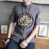 龍袍刺繡亞麻短袖襯衫男裝唐裝中式盤扣