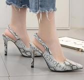 高跟涼鞋 高跟鞋 新款歐美性感蛇紋尖頭淺口單鞋細後搭扣女鞋韓版女鞋子【多多鞋包店】ds4008