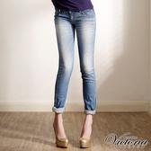 Victoria TENCEL低腰噴漆小直筒褲-女-中藍-VW211975