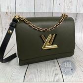 BRAND楓月 LOUIS VUITTON LV M53597 TWIST 綠色 白色 雙色 拚色 LOGO 轉鎖 手袋