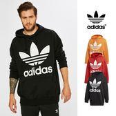 【GT】Adidas Originals 黑紅橘 連帽T恤 純棉 寬鬆 落肩 運動 休閒 帽衫 愛迪達 三葉草 基本款 大Logo