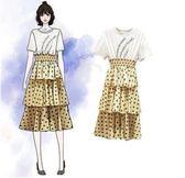 促銷價不退換原創實拍網紅洋裝XL-5XL中大尺碼31998/新款大碼女裝顯瘦波點拼接中長款連衣裙假兩件
