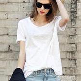 短袖T恤2019春夏簡約短袖女T恤白色竹節棉體恤打底衫寬鬆大圓領半袖純棉 萊俐亞美麗