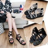 涼鞋女百搭羅馬潮流夏天鞋子女生平跟新款休閒鞋平底學生涼鞋