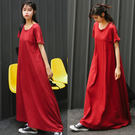 【GZ38】連身裙 超長款寬鬆t恤裙 大碼拖地裙 短袖休閒長裙