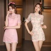 夜店洋裝 新款旗袍式甜美復古蕾絲連身裙夜店水療美容院技師修身顯瘦工作服   美物 99免運