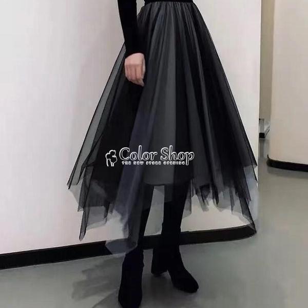 2021不規則網紗半身裙網紅四季女復古蓬蓬紗裙漸變高腰仙女裙子 快速出貨