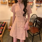 春夏2020新款韓版休閒洋氣西裝領高腰格子短裙子短袖襯衫連身裙女 非凡小鋪