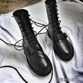 圓頭系帶馬丁靴短靴女皮帶扣機車單靴