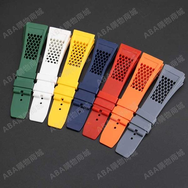矽膠表帶錶帶適配RICHARD MILLE 理查德米勒表帶凸25mm男防水表帶