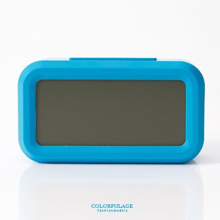 鬧鐘 清新藍色LCD大數字呈現 語音報時感光聰明鐘 溫度.貪睡多功能 柒彩年代【NV2】創意配件
