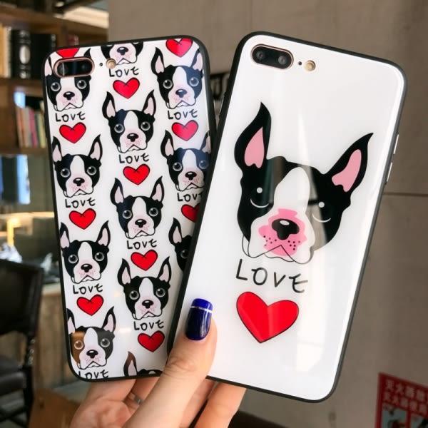 【SZ35】卡通愛心法鬥犬玻璃殼 iphone7/8 plus手機殼 韓國潮牌iphone6s手機殼 iphoneX