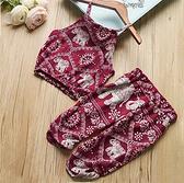 ?女童夏季無袖印花吊帶上衣女寶寶舒適休閒褲套裝