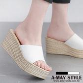 厚底涼鞋-輕量皮革編織紋楔型拖鞋