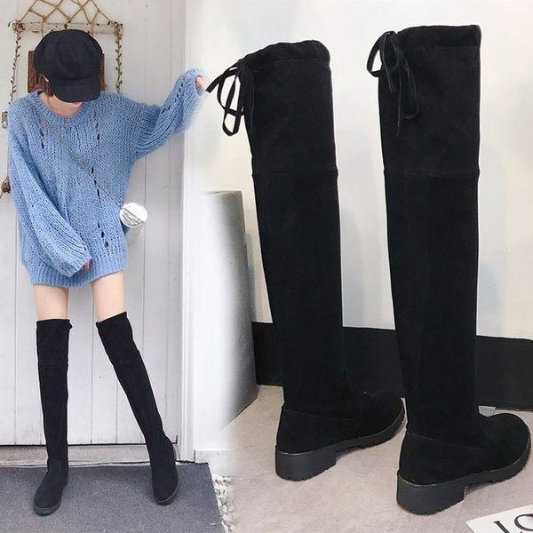 膝上靴 長靴女過膝2019秋冬新款高跟顯瘦繫帶瘦腿彈力靴高筒靴粗跟長筒靴