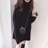 現貨灰 排釦高領 顯瘦毛衣 CC KOREA ~ Q26860