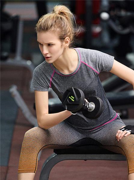 出清款-【BODYAIR】窄版柔軟條紋排汗上衣(運動.瑜珈.慢跑)