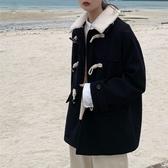 女大衣 女裝冬裝年秋冬流行小個子短款毛呢外套女牛角扣黑色妮子大衣【快速出貨】