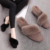 大尺碼高跟毛毛拖鞋女時尚外穿半拖鞋秋季新款毛絨女士包頭拖 DN16955【旅行者】