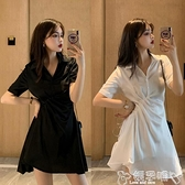 大碼連身裙赫本風連身裙夏季大碼胖mm顯瘦遮肉裙子褶皺收腰氣質小黑裙V領潮 嬡孕哺