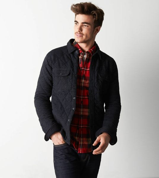 (BJGO) AMERICAN EAGLE 男裝 AEO Vintage Quilted Fleece Jacket 美國老鷹AEO復古菱格經典外套 2014新品現貨L號