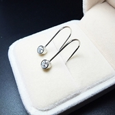 耳環 925純銀鑲鑽-簡潔耀眼生日情人節禮物女飾品73ia21【時尚巴黎】