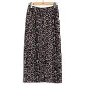 秋冬下殺↘5折[H2O]彈性針織布前中開衩顯瘦直筒長裙 - 豹紋色 #9652018