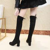 膝上靴 過膝長靴女2019新款彈力高跟靴