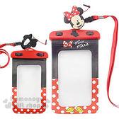 〔小禮堂〕迪士尼 米妮 防水手機袋《紅黑.白點.造型耳機塞》 8039004-00024