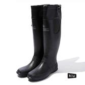 日本KIU 185900 黑色 二代可折疊百搭雨鞋/文青風氣質雨靴 附收納袋(男女適用)