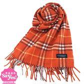 【奢華時尚】秒殺推薦!BURBERRY 橘紅色格紋100% Cashmere純羊毛圍巾(八五成新)#22890